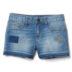 Gap girls ripped and patched denim shorts